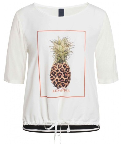 One-Two Adriana T-Shirt i hvid med ananas print