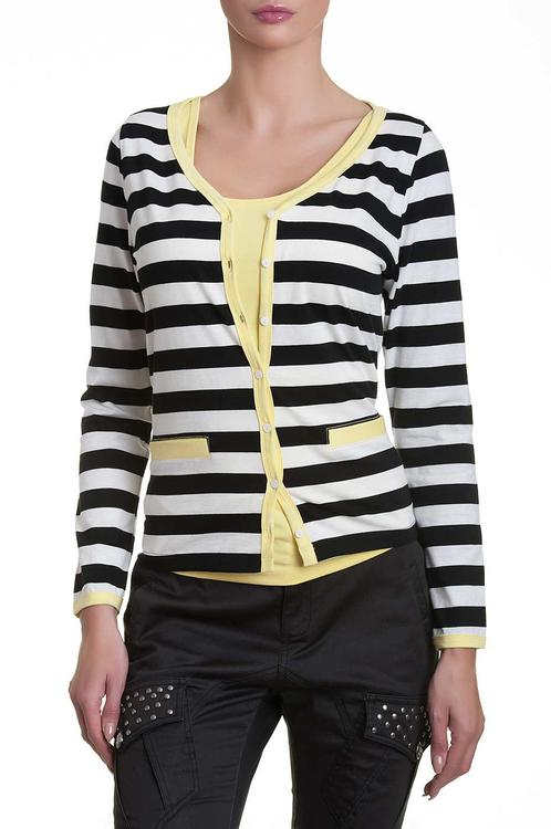 one-two stribet cardigan i gul 9131-651-116