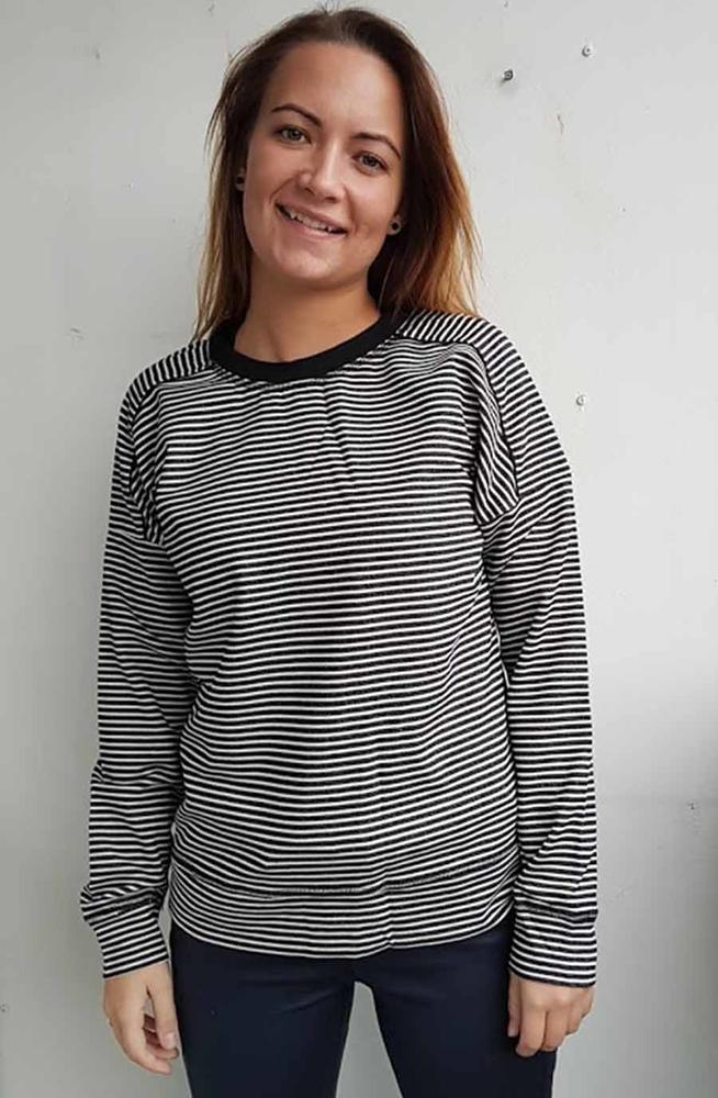 ONE-TWO SWEAT BLUSE MED STRIBER