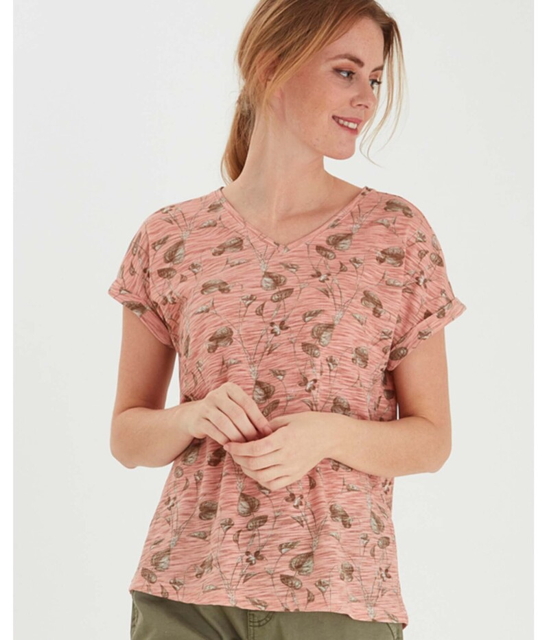 FRANSA T-SHIRT I MISTY ROSE MIX