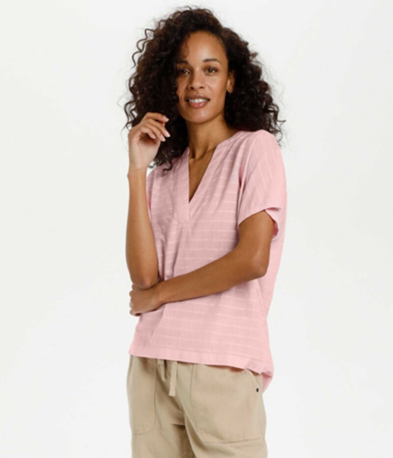 KAFFE WING SLEEVE BLUSE I CANDY PINK
